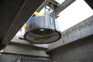 Wasserkraftwerk Rheinfelden_Einbau Stator_2009