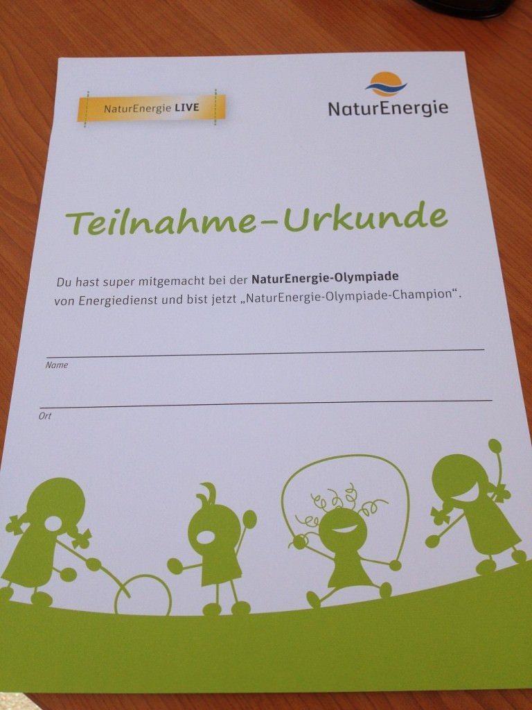 Urkunde Der NaturEnergie Olympiade