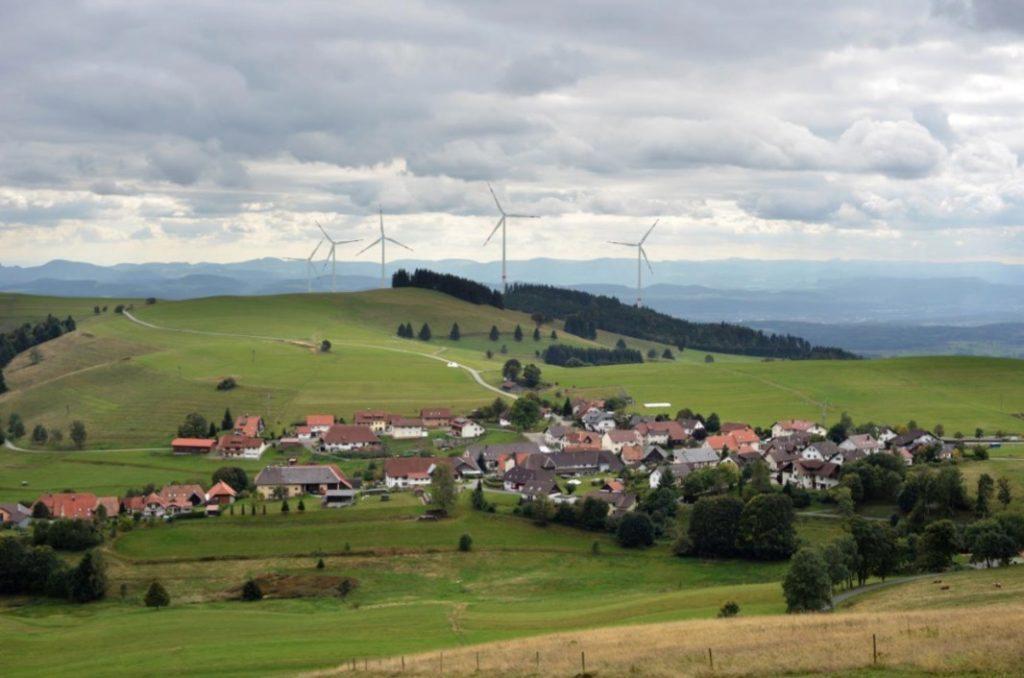 Visualisierung des geplanten Windparks Hasel bei Lörrach. Grafik: EnBW