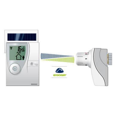 Batterieloser Raumthermostat en:key mit Übertragung per Funk