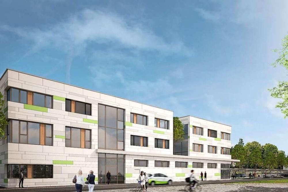 Grafik eines in Grenzach-Wyhlen projektierten Bürogebäudes. Das Gebäude ist kastenartig und hat eine weiß-grüne Fassade. Vor dem Gebäude fährt ein Elektroauto und bewegen sich Menschen.
