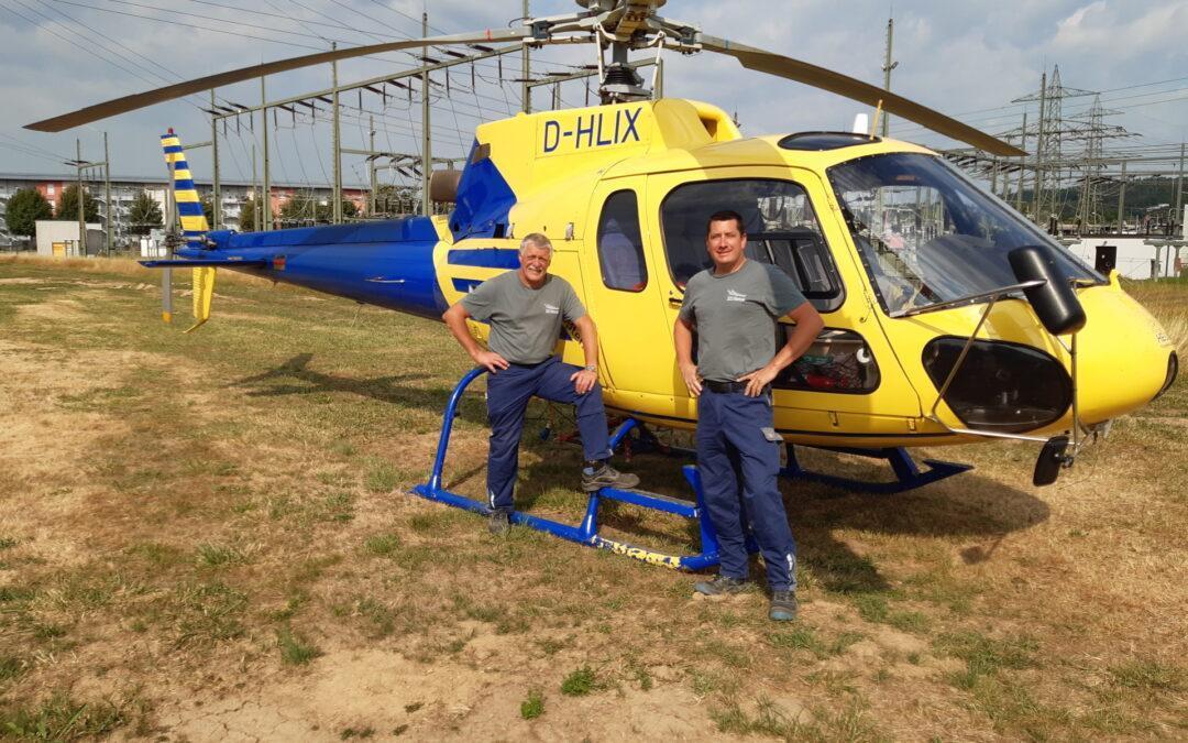 Leitungskontrolle mit Hubschrauber und Drohne: Im Einsatz für ein sicheres Stromnetz