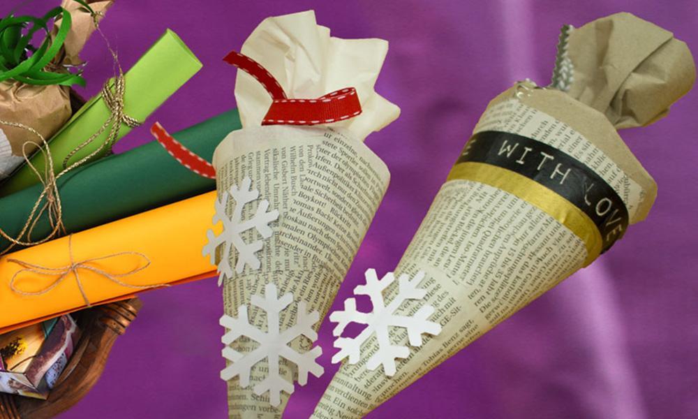Geschenke in selbst gebastelten Spitztüten verpacken