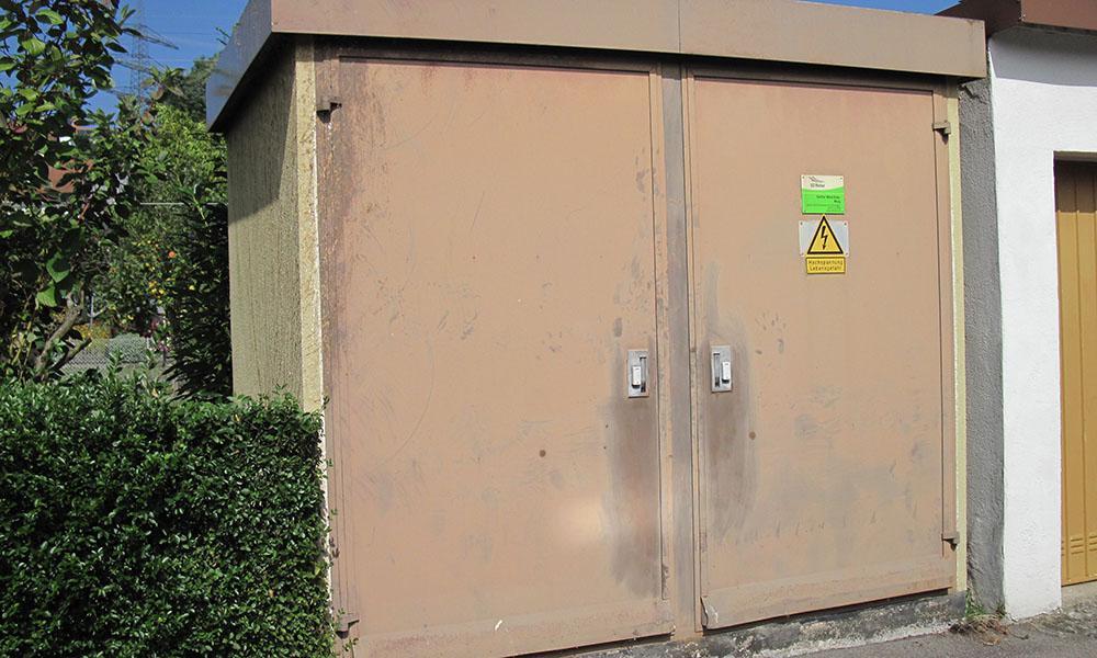 Die Trafostation Weieräcker der ED Netze versorgt fast 100 Hausanschlüsse im Murger Wohngebiet.