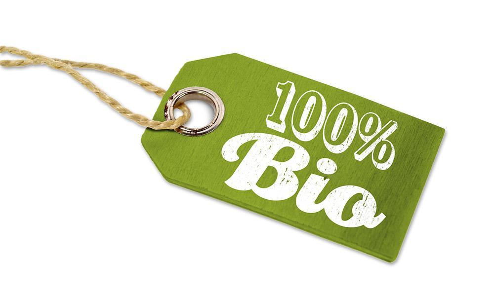 Label mit Schrift 100 % Bio