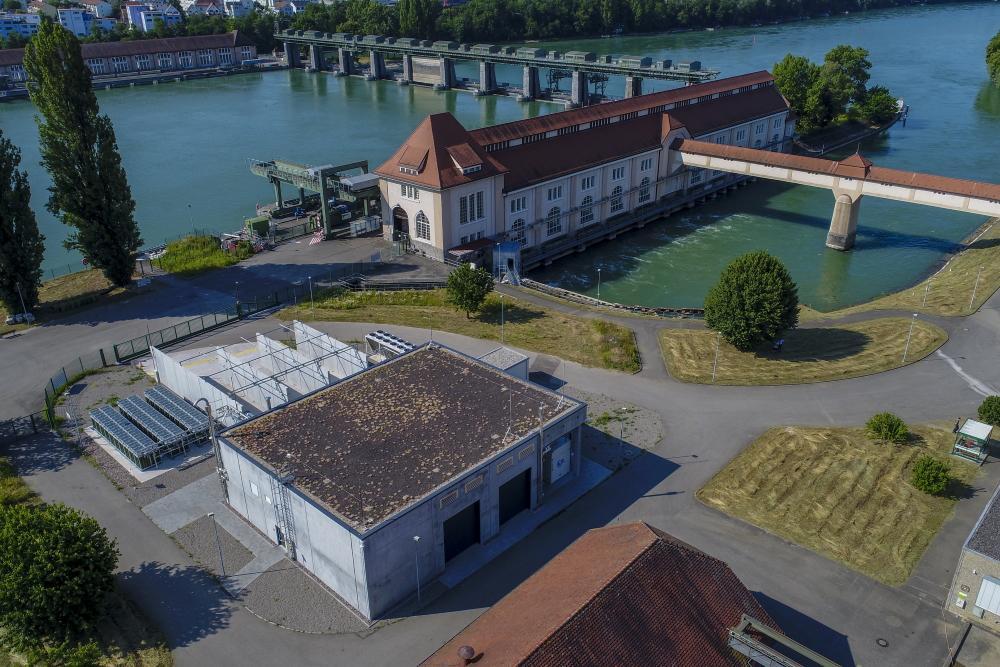 Energiedienst-Standort Grenzach-Wyhlen mit Power-to-Gas-Anlage und Wasserkraftwerk